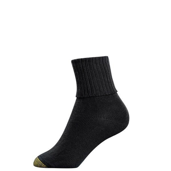 Gold Toe Women's Cotton Turn Cuff Ankle Socks, Shoe Size 6 - 9
