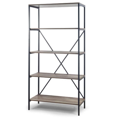 August 67 In. Light Brown Shelf Etagere Bookcase with Metal Frame