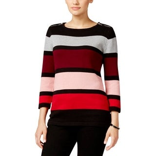 Karen Scott Womens Pullover Sweater Knit Striped