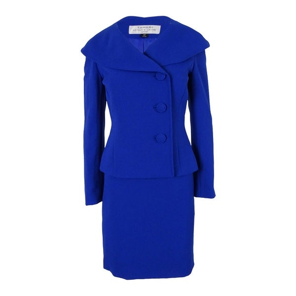 Tahari Women's Three-Button Jacket Skirt Suit - cobalt