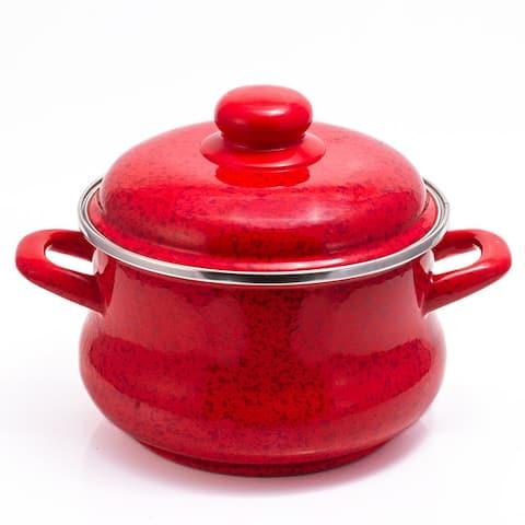MET-ROT Ruby Red Enamel on Steel 5.3-quart High-End Stock Pot