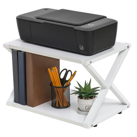 FITUEYES Printer Stand 2 Tiers Wood Desk Organizer Shelf
