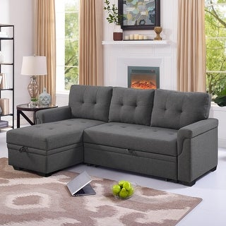 Link to Copper Grove Perreux Linen Reversible Sleeper Sectional Sofa Similar Items in Living Room Furniture