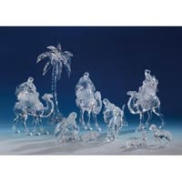 9 Piece Icy Crystal Religious Christmas Nativity Set - CLEAR