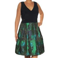 XSCAPE Womens Navy Floral Sleeveless V Neck Knee Length Fit + Flare Formal Dress Plus  Size: 14