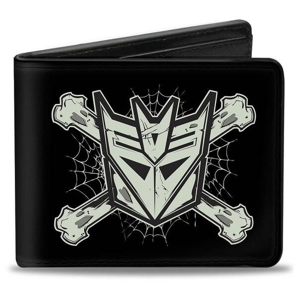 Decepticon & Cross Bones Black Gray Bi Fold Wallet - One Size Fits most