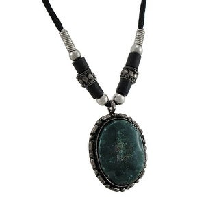 Black / Green Agate Pendant W/ Cord Necklace