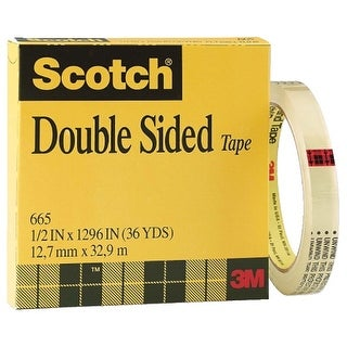Scotch 665 Double-Sided Tape, 0.50 x 1296 Inches, Clear