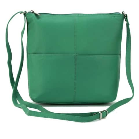 Leather Crossbody bag with Cell Phone Pocket Teal