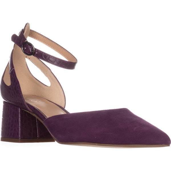 Franco Sarto Caleigh Ankle-Strap Heels, Grape Suede