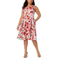 Calvin Klein Womens Plus Party Dress Sleeveless Floral Print