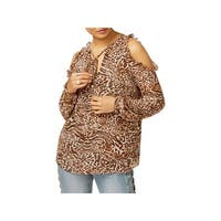 MICHAEL Michael Kors Womens Pullover Top Printed Cold Shoulder