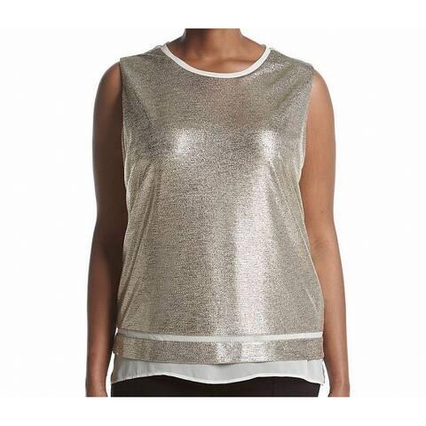 Calvin Klein Gold Womens Size 2X Plus Sheer-Hem Metallic Tank Top