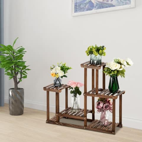 4-Story 7-Seat Multi-Function Carbonized Wood Plant Stand