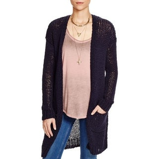 Free People Womens Simply Sienna Cardigan Sweater Open Front Patch Pockets