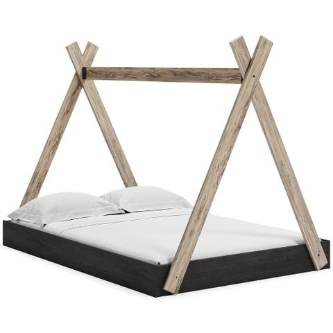 Signature Design by Ashley Piperton Natural/Dark Brown Tent Bed