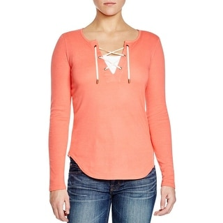 Three Dots Womens Casual Top Modal Blend Lace-Up