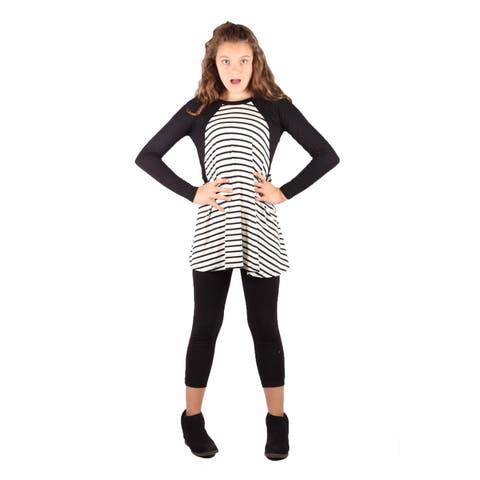Lori&Jane Girls Black White Stripe Dress Tunic Black Leggings Set