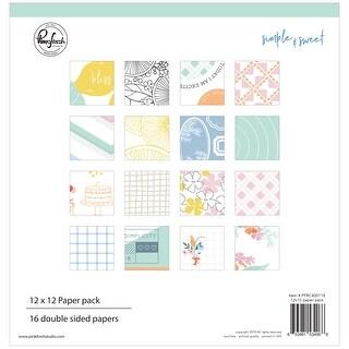 "Pinkfresh Studio Double-Sided Paper Pack 12""X12"" 16/Pkg-Simple & Sweet, 8 Designs/2 Each"