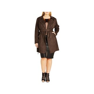 City Chic Womens Plus Jacket Faux Suede Belted - 16