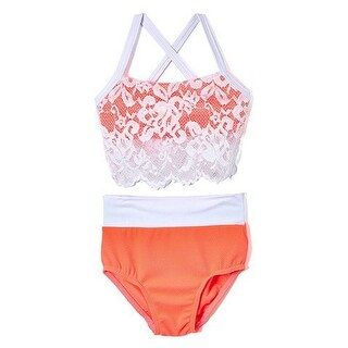 Elliewear Little Girls Coral Lace Overlay Top Brief 2 Pc Dance Set