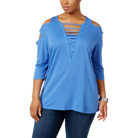 Love Scarlett Womens Plus Pullover Top Cold Shoulder 3/4 Sleeves - 2X