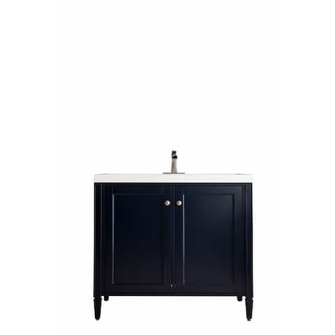 "Britannia 39.5"" Single Vanity Cabinet w/ White Glossy Resin Countertop"