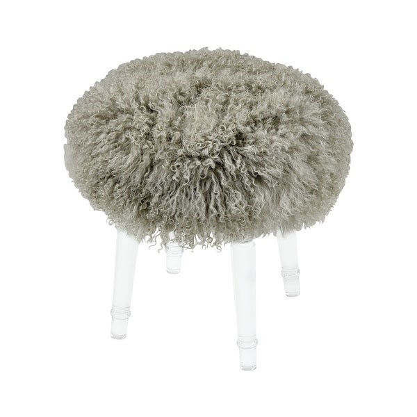 """Elk Home 3169-074 Best in Show 15-3/8 """" Wide Acrylic Framed Mohair Covered Ottoman - Gray"""