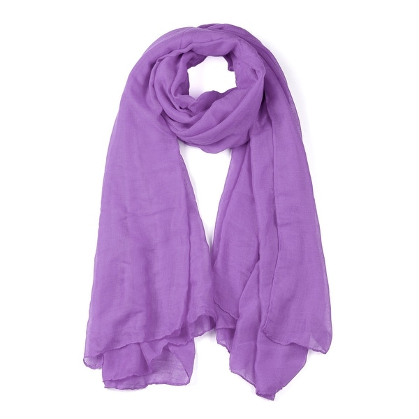 Soft Lightweight Long Scarves With Solid Color Shawl For Women Men Lavender