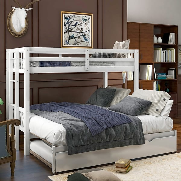 Twin Over Pull Out Bunk Bed With Trundle On Sale Overstock 32731961