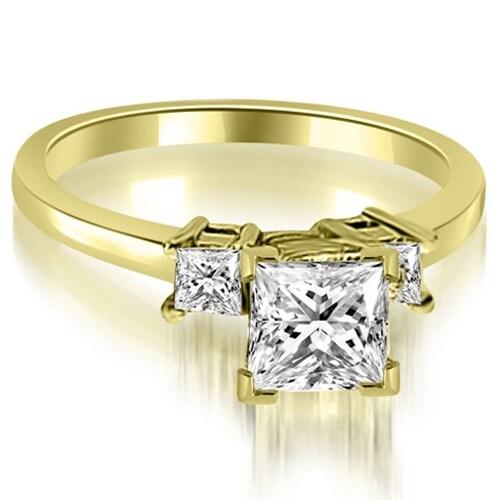 1.35 cttw. 14K Yellow Gold Princess Cut Diamond Engagement Ring,HI,SI1-2