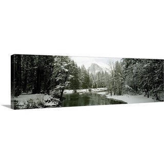 """Trees covered with snow, Half Dome, Yosemite National Park, Mariposa County, California"" Canvas Wall Art"