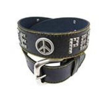 Black Distressed Leather Peace Symbol Belt