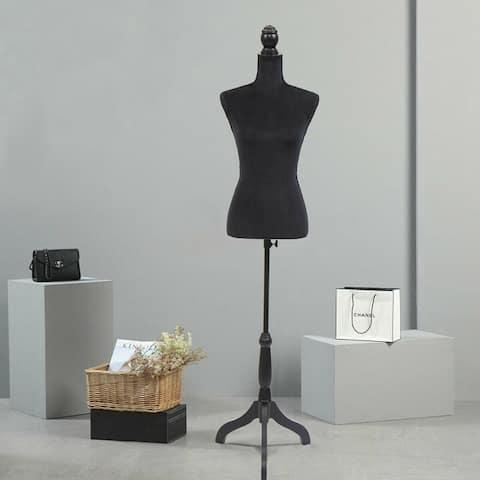 Black Female Tripod Stand Mannequin Torso Dress Clothing Display