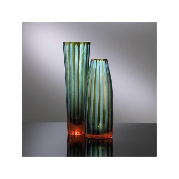 "Cyan Design 1128 11.5"" Large Cyan And Orange Striped Vase - cyan blue and orange - N/A"