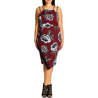 City Chic Womens Plus Casual Dress Mid Calf Floral Print