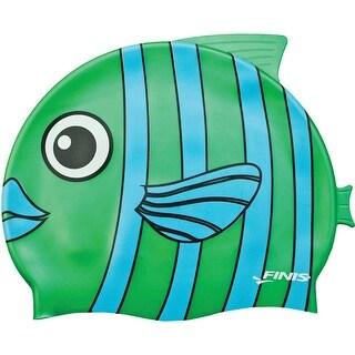 FINIS Youth Animal Head Silicone Swim Cap - Emerald Fish Green