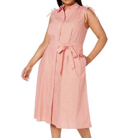 Calvin Klein Women's Shirt Dress Orange Size 20W Plus Belted Plaid