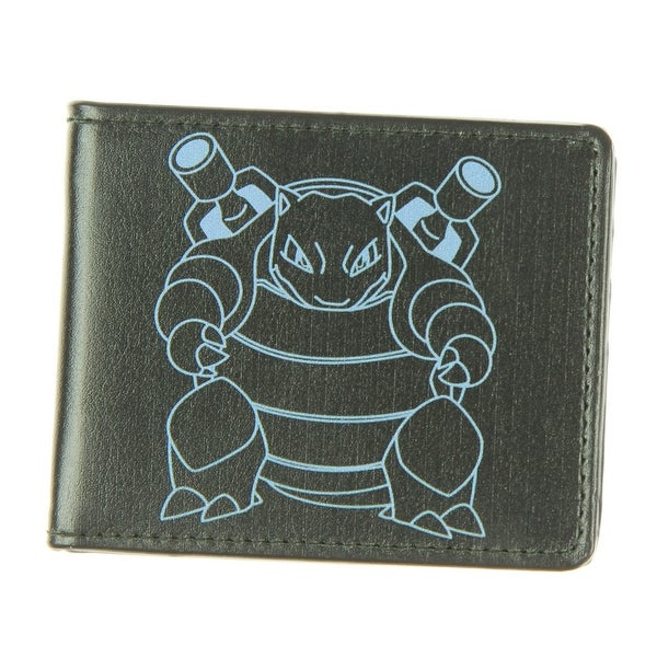 Pokemon Blastoise Outline Black Grey Bi-fold Leather Wallet