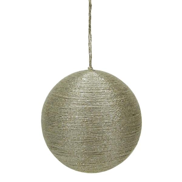 "3.5"" Modern Rustic Style Metallic Tan Jute Wrapped Christmas Ball Ornament (90mm) - brown"