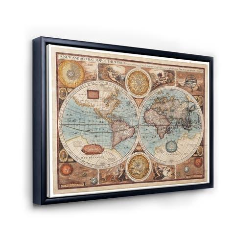 Designart 'Ancient Map of The World VIII' Vintage Framed Canvas Wall Art Print