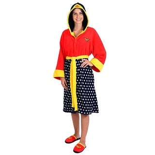 DC Comics Wonder Woman Ladies Hooded Fleece Robe and Slipper Set - Red