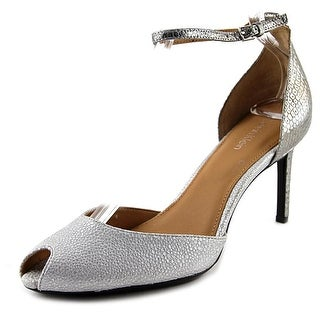 Calvin Klein Saiden Heel Women  Peep-Toe Leather Gray Heels