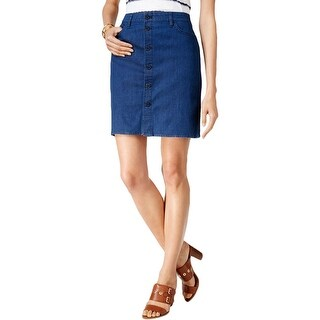 Tommy Hilfiger Womens Denim Skirt Button Down Medium Wash