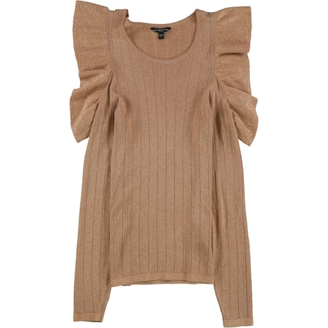 Guess Womens Lurex Cold Shoulder Pullover Sweater