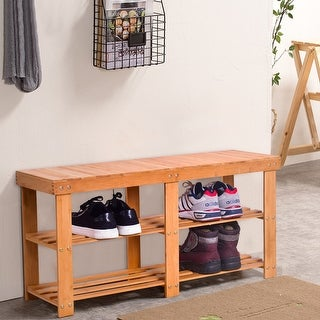 Gymax Bamboo Shoe Rack Bench Storage Shelf Organizer Entryway Home Hallway Furniture