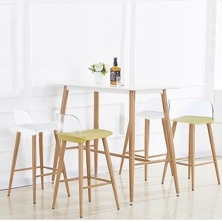 24-inch Counter Height Stool, Bar Stools With Transparent Back (Set of 2)