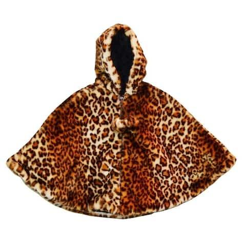 Girls Brown Leopard Faux Fur Poncho 7-12