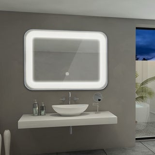 Costway LED Wall-Mount Mirror Bathroom Vanity Makeup Illuminated Mirror W/Touch Button - as pic