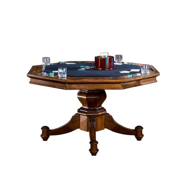 """Hillsdale Furniture 6060GTB Nassau 52"""" Diameter Wood Framed Gaming Table with Dual Tabletop - Brown"""